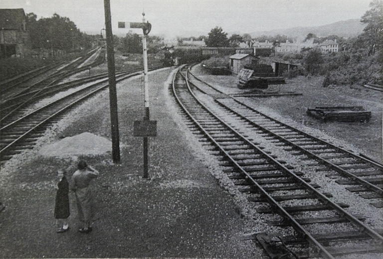 Mary and her mother, Mrs E F Yendell, watch the last Teign Valley train pull up to Heathfield station