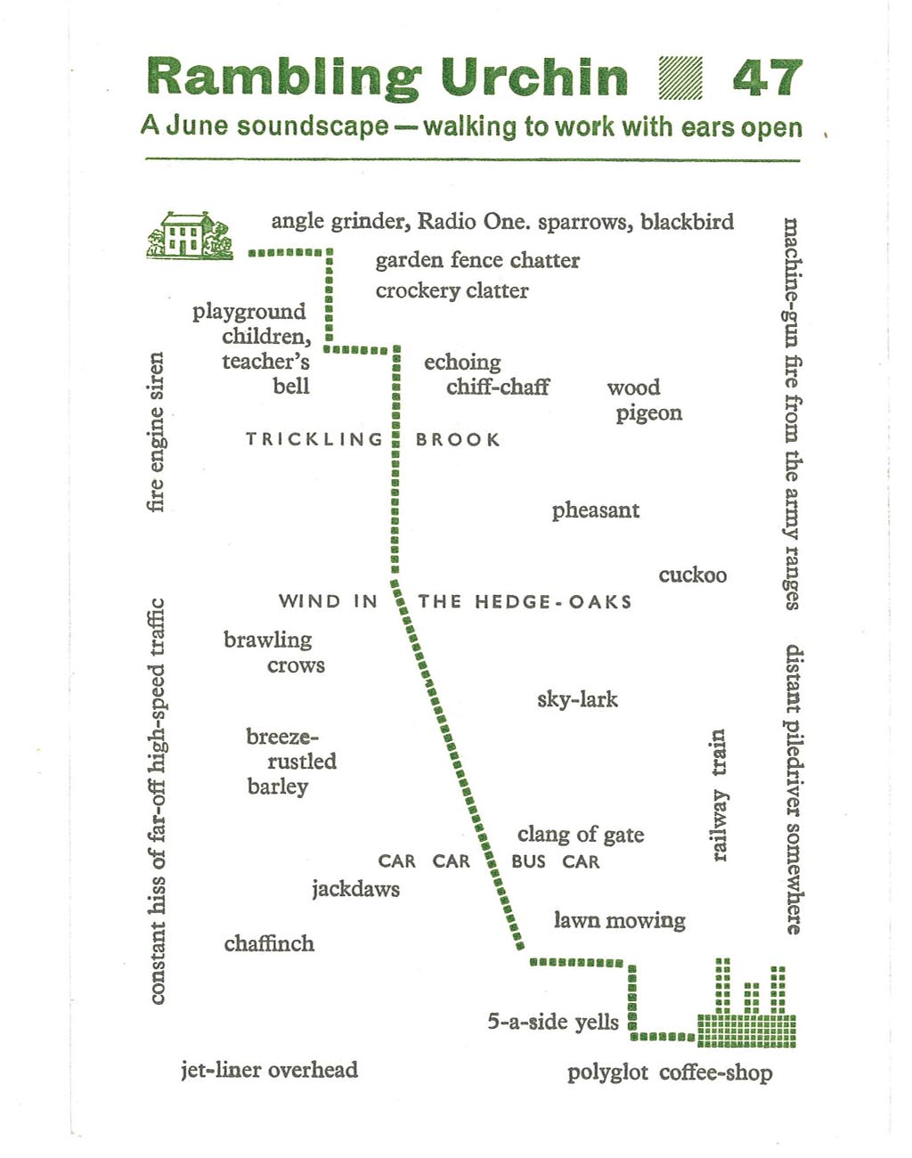 Rambling Urchin 47: A June soundscape- walking to work with ears open. (Hedgehog Press)