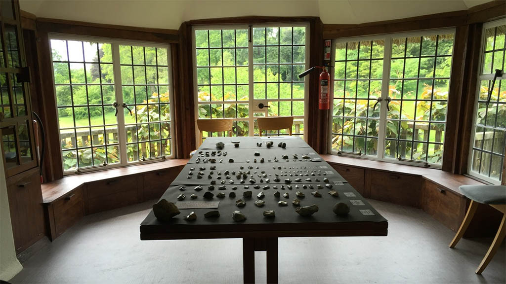 Items of archaeological interest found across the Dartington estate on display in the Head Gardener's office during Community Day 2015