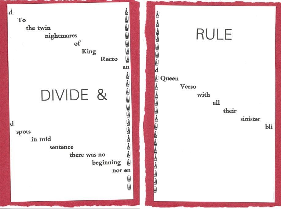 Divide and Rule pamphlet printed by Mary Bartlett and Roy Harris