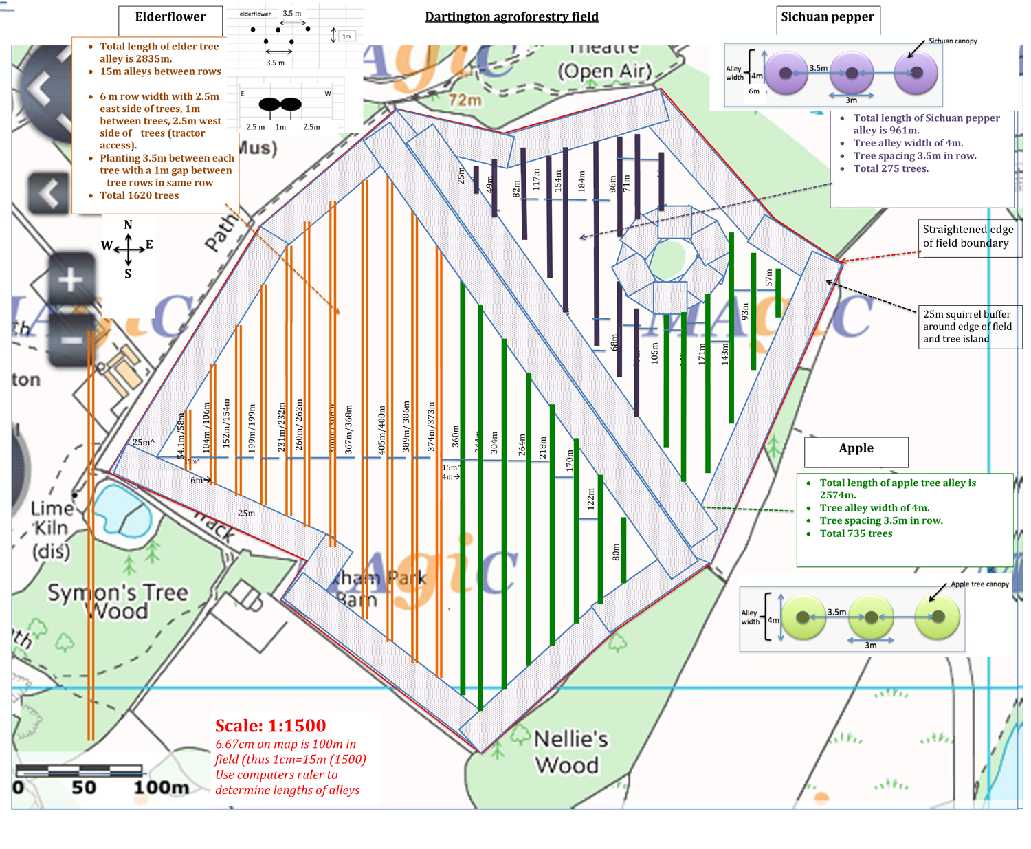 Technical drawing of proposed agroforestry field use
