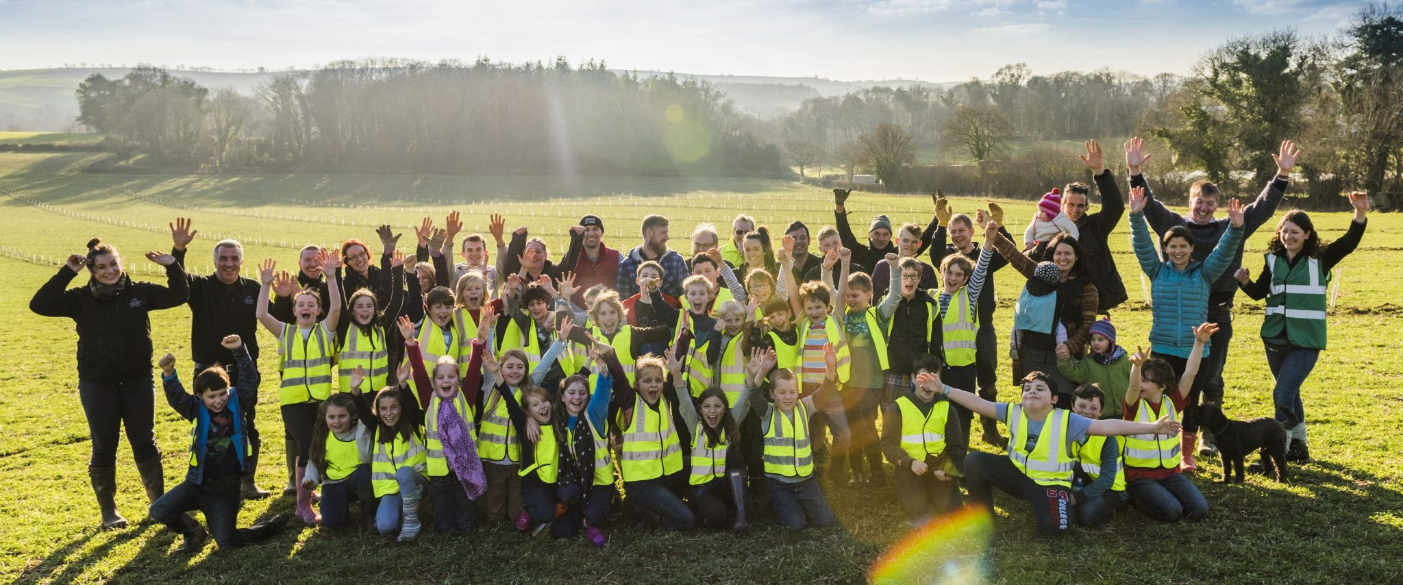 Luscombe Drinks and Dartington C of E Primary School celebrate a successful day's planting