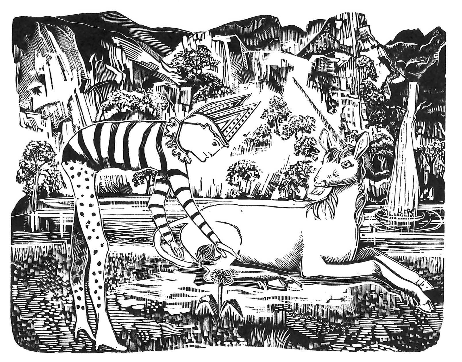 The Fool and The Unicorn - wood engraving John Hunt