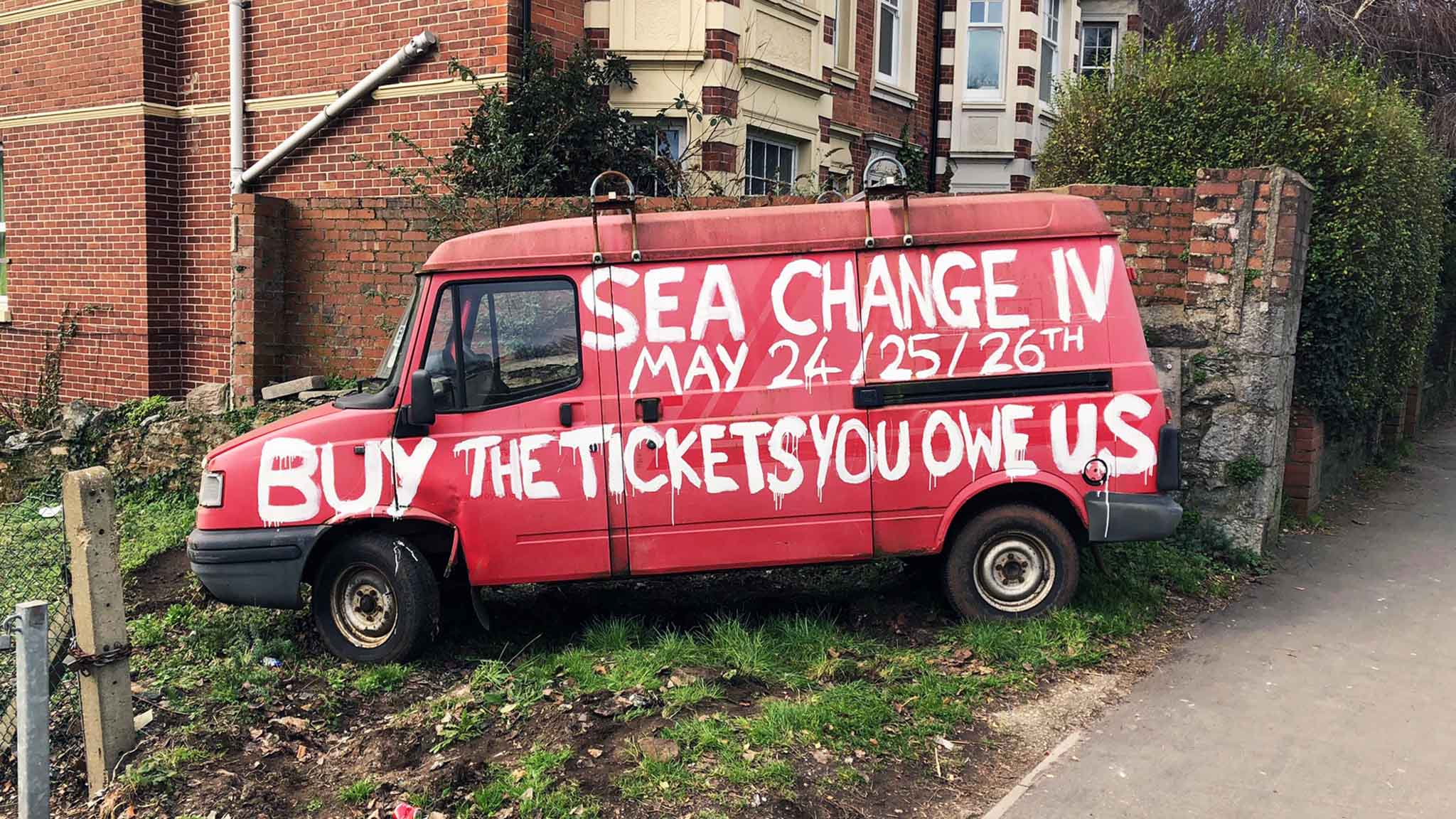 Sea Change's tribute references both Totnes's famous van and an album by festival headliners Metronomy