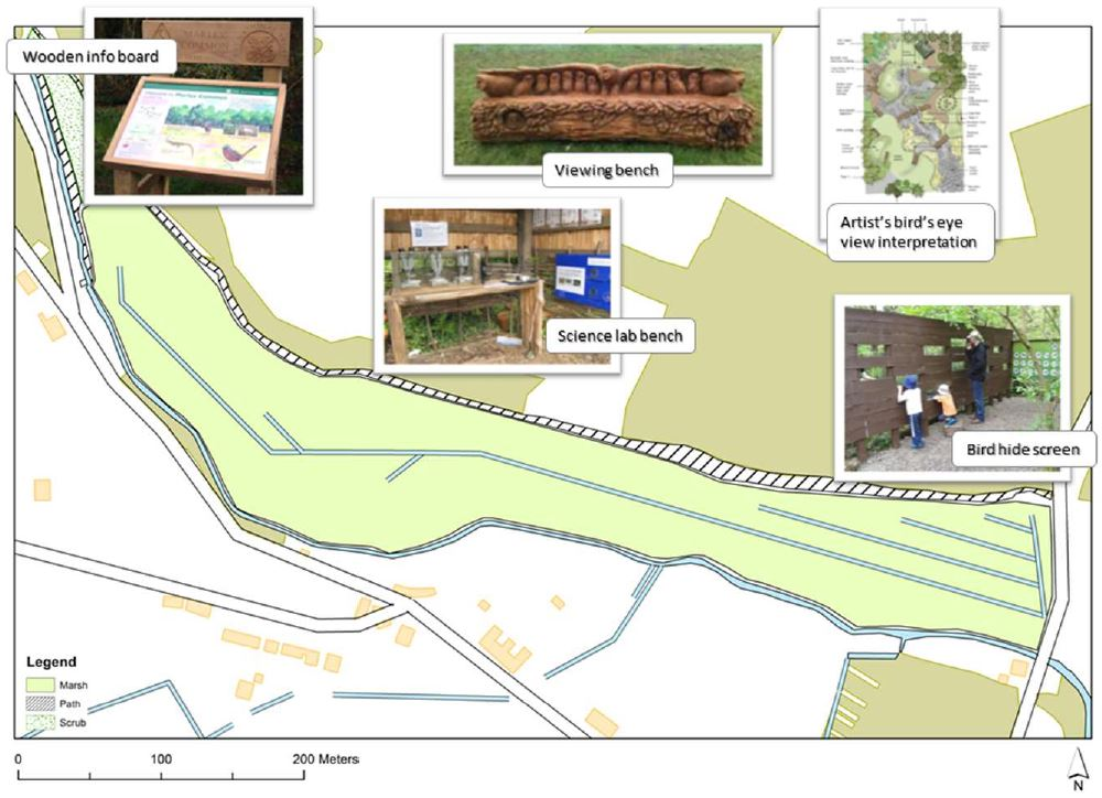 Map showing good examples of ways to enhance public enjoyment and enhancement on site. (Feasibility Study report, Fig 29)