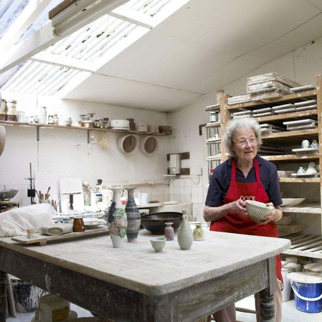 Marianne de Trey in her studio at The Cabin