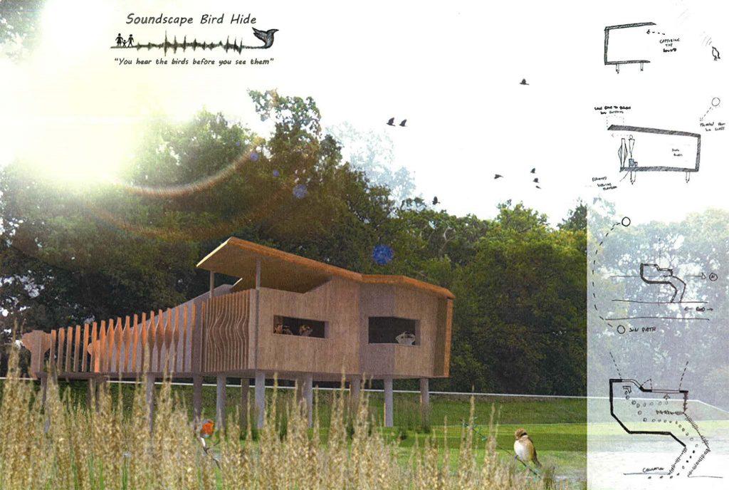 Winning Soundscape bird hide design for Queens Marsh