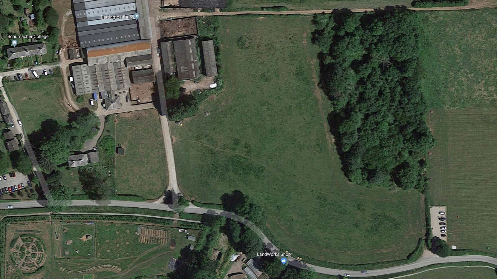 Above: Aerial view of Plum Plot, the site of Dartington's experiments into silvopasture. Old Parsonage Farm can be seen in the top left corner. Image: Google Maps.